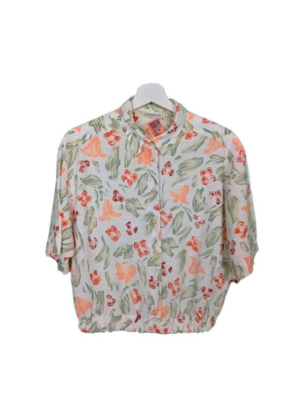 crop top camisa flores