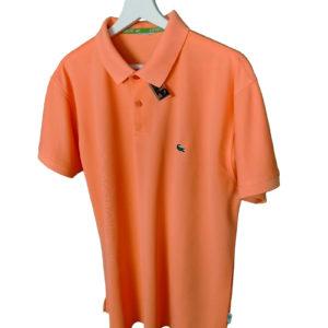 Polo lacoste naranja crema logo