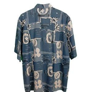 Camisa hawaiana azul flores