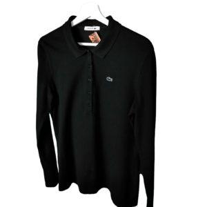 Polo Lacoste manga larga color negro