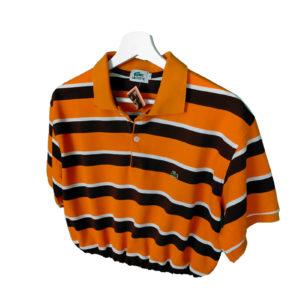 Crop Top Polo rayas naranja