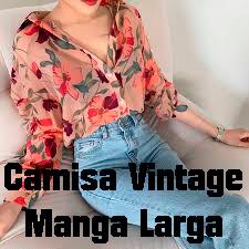 Camisa Vintage Manga Larga.